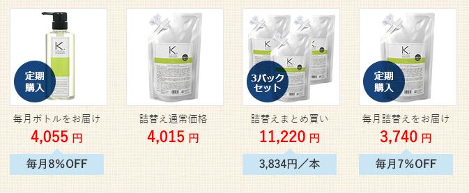 ケフトルEXアミノシャンプーの価格と商品ラインナップ